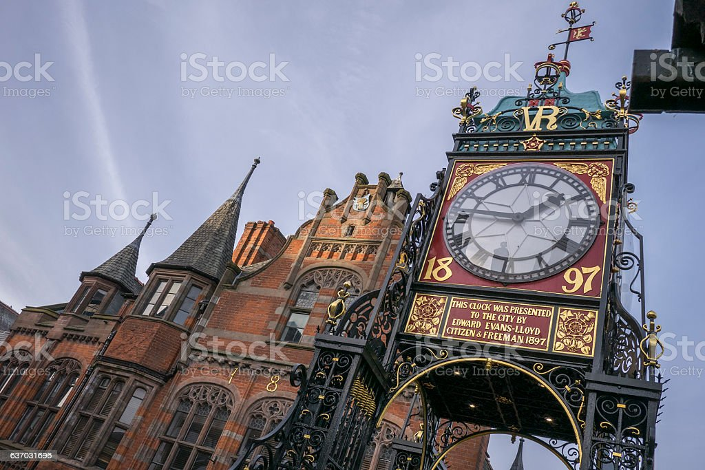 clock tower, chester, england stock photo