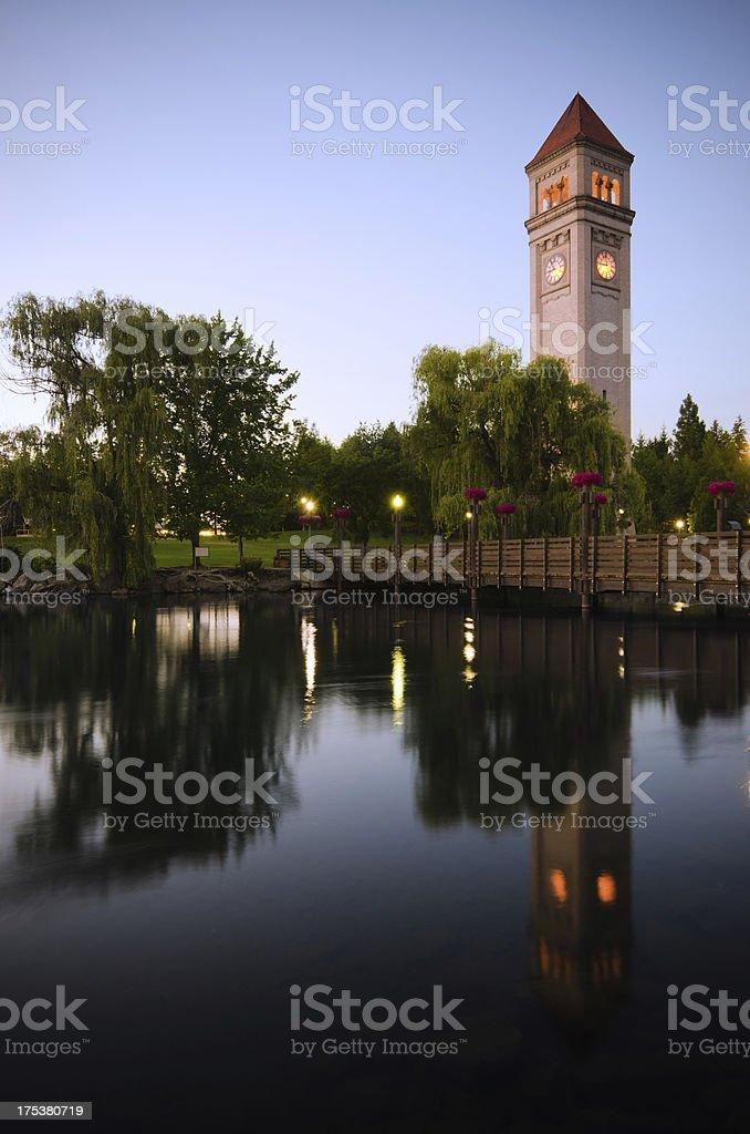 Clock tower during nighttime at Riverfront Park in Spokane, WA stock photo