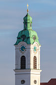 Clock tower from the Saint Heinrich parish church in Fuerth / Germany