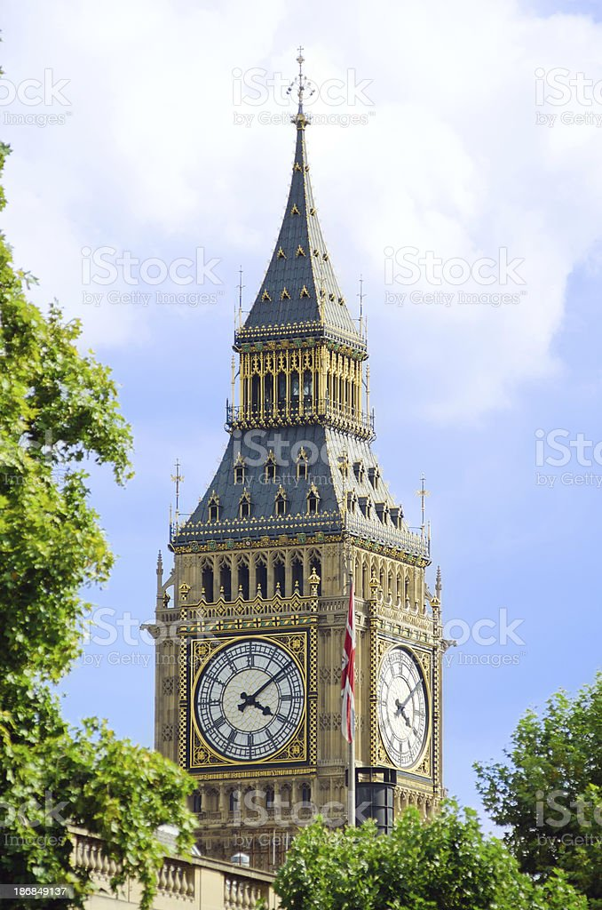 Clock tower housing Big Ben at Parliament in London, England royalty-free stock photo