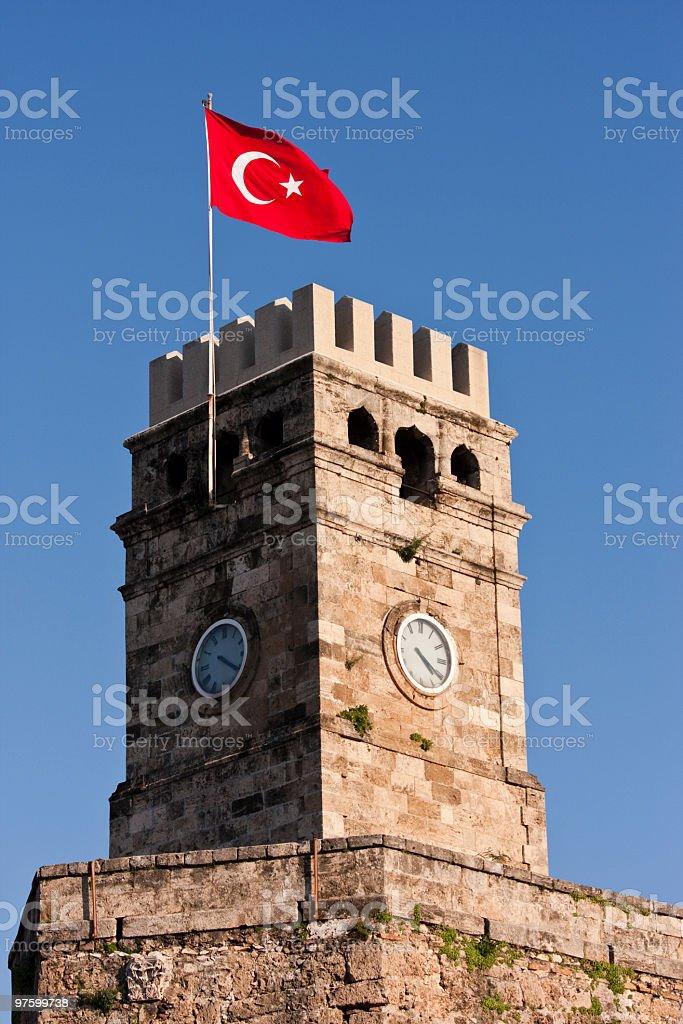 Clock tower in Antalya, Turkey royalty-free stock photo