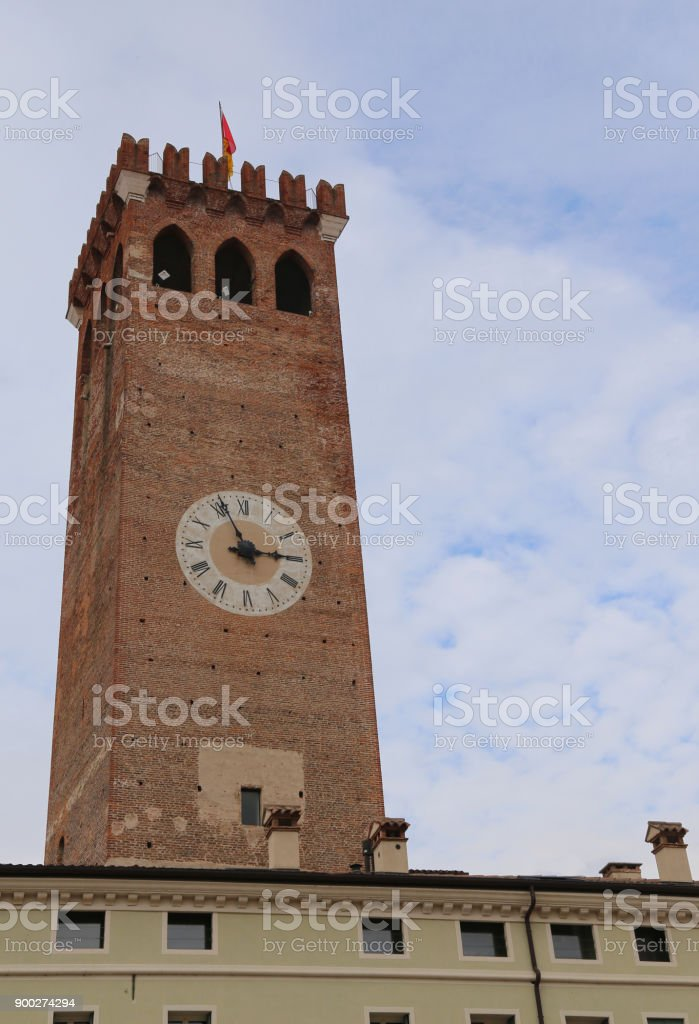 Clock Tower in Bassano del Grappa a small city in Northen Italy called TORRE CIVICA stock photo