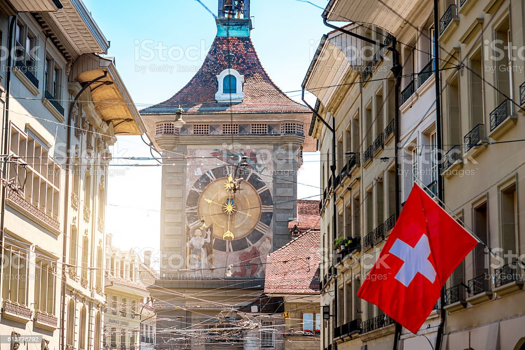 Clock tower in Bern city stock photo