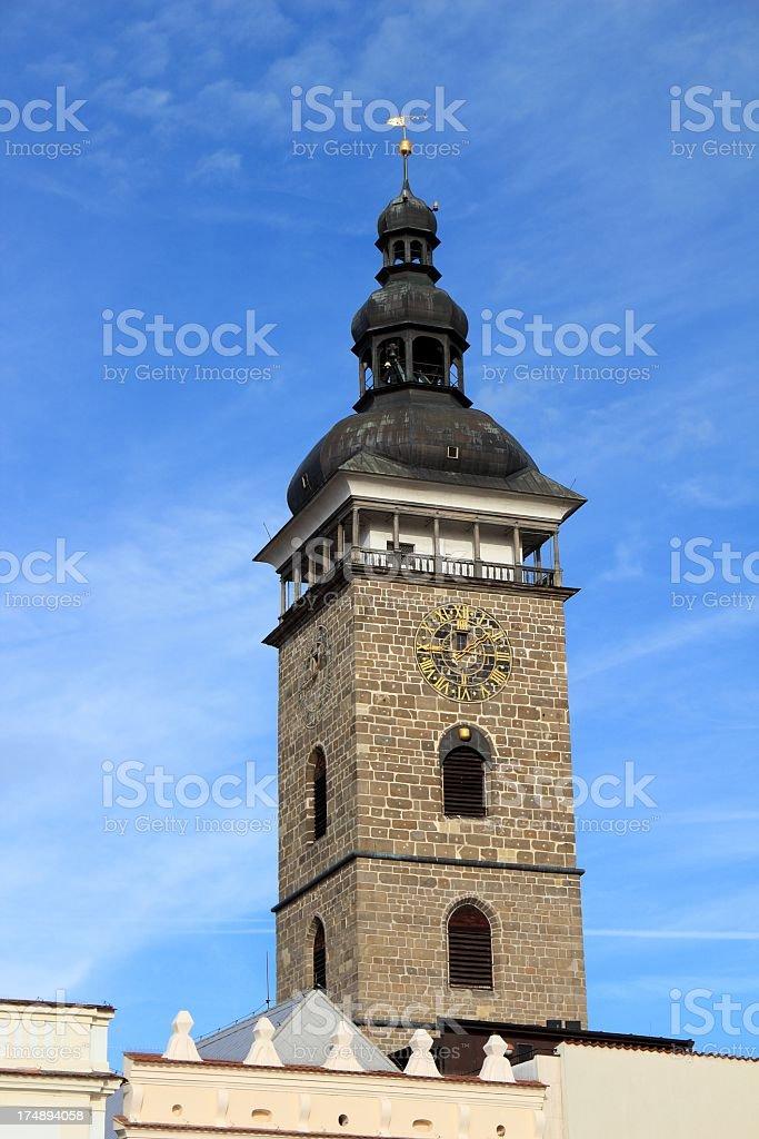 Clock tower in Ceske Budejovice, Czech Republic royalty-free stock photo