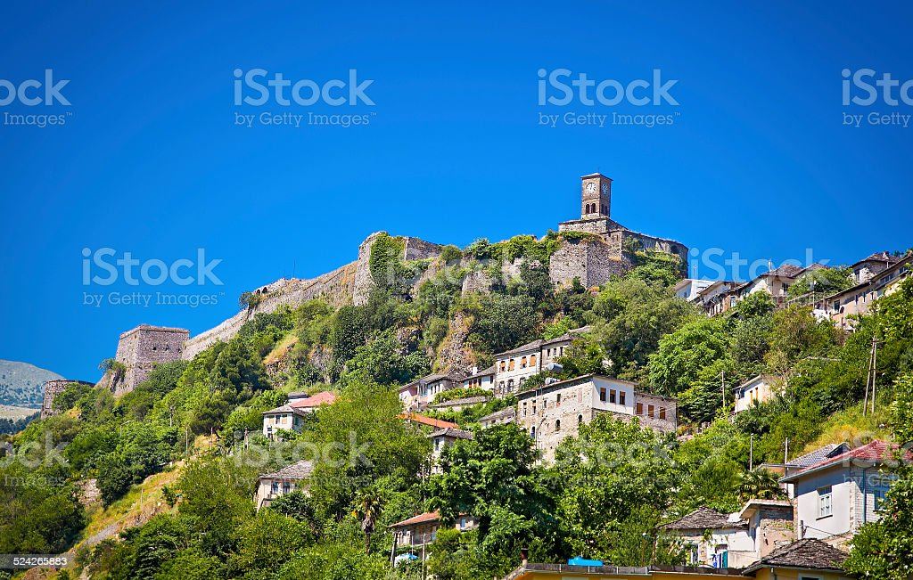 Clock Tower in Gjirokaster, Southern Albania. stock photo
