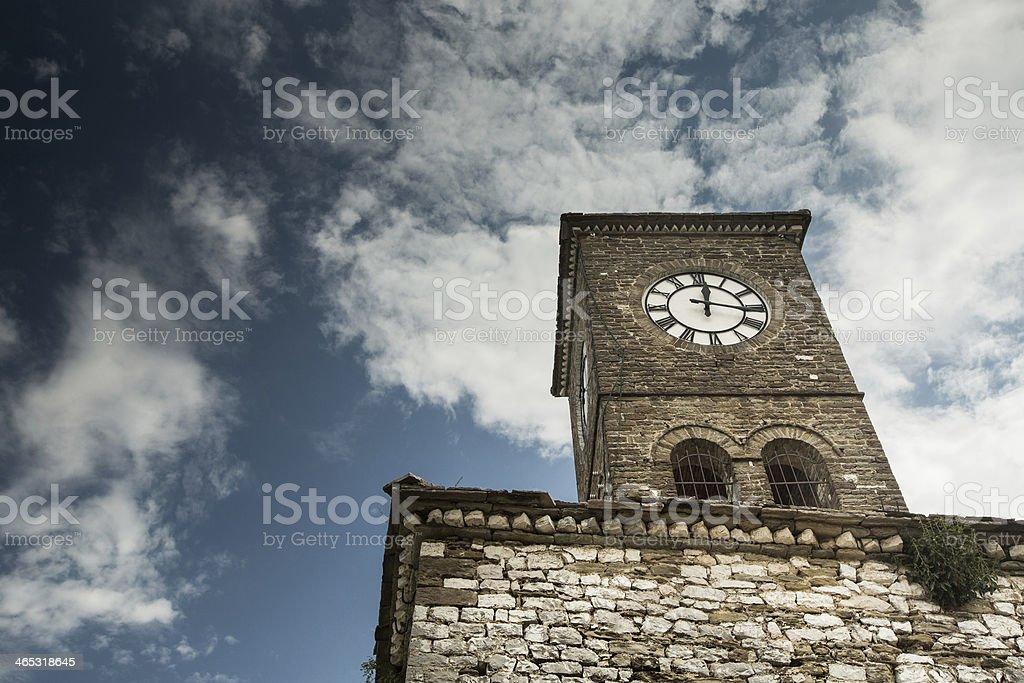 Clock tower in Gjirokastra, Albania stock photo