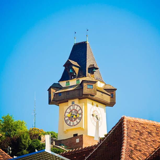 clock tower in graz - stadt graz stock-fotos und bilder