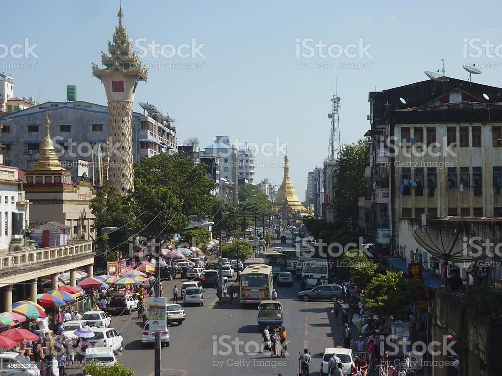 Clock Tower in Mahabandoola street, Yangon stock photo