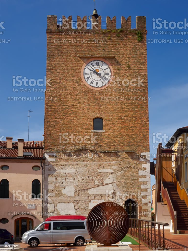 Clock tower in Mestre, Italy stock photo