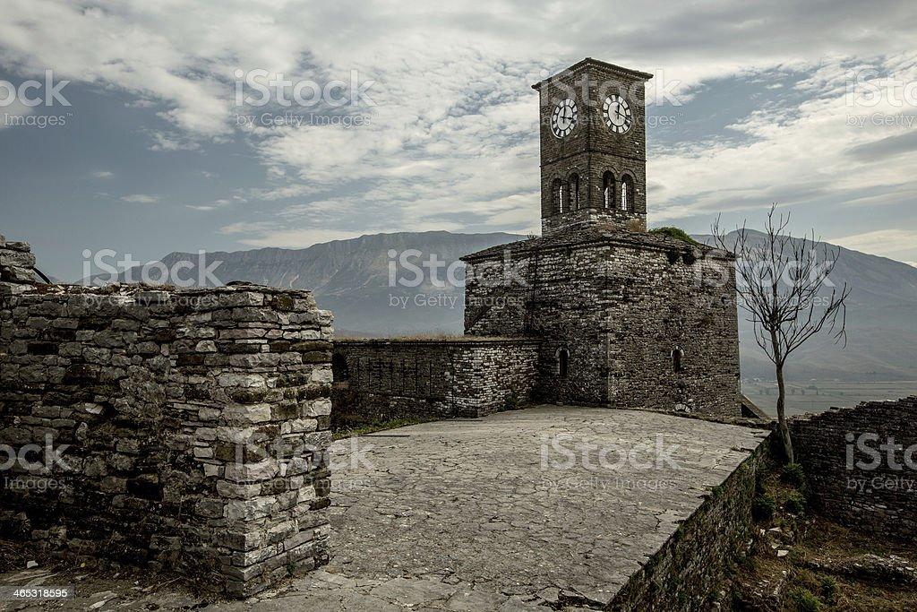 Clock tower in  old city of Gjirokastra, Albania stock photo