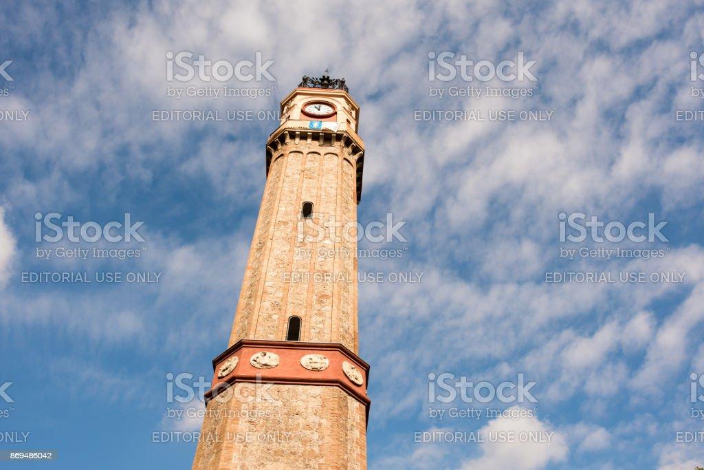 Clock tower in Plaza Vila de Gracia in Barcelona stock photo