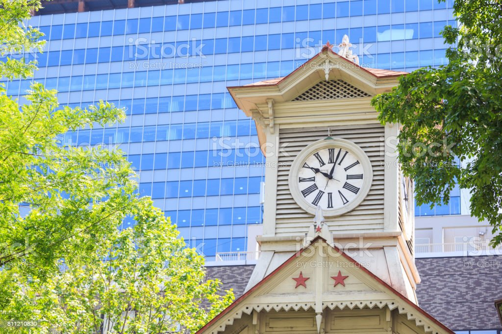 Clock Tower in Sapporo Hokkaido Japan royalty-free stock photo