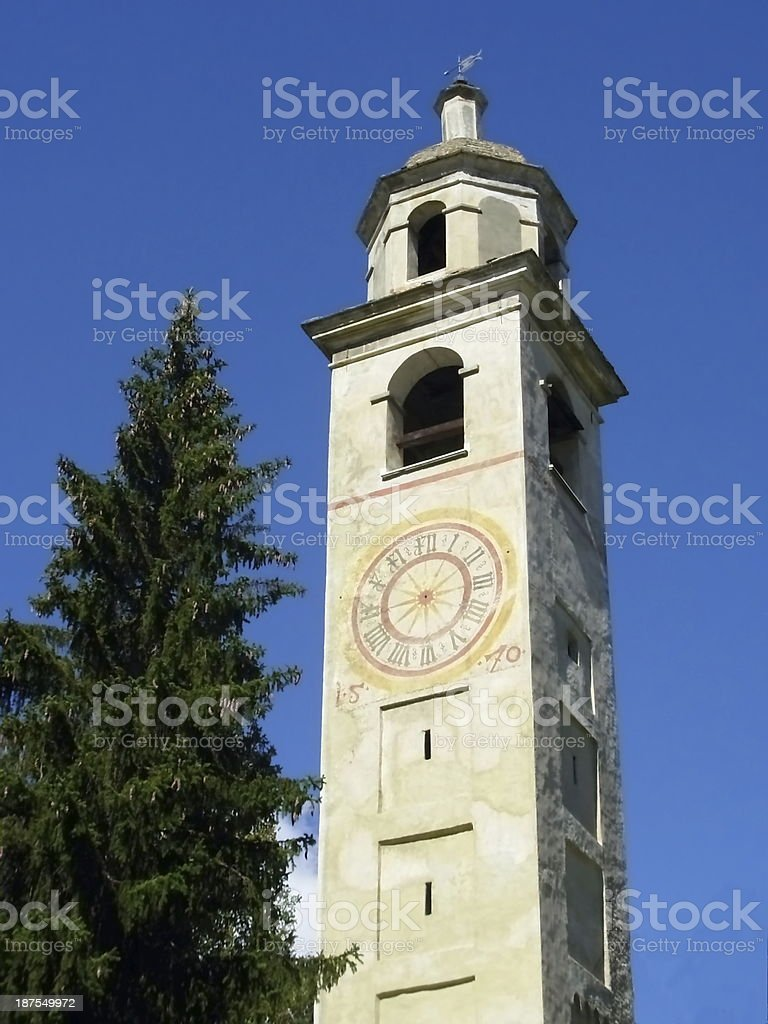 clock tower in St. Moritz royalty-free stock photo