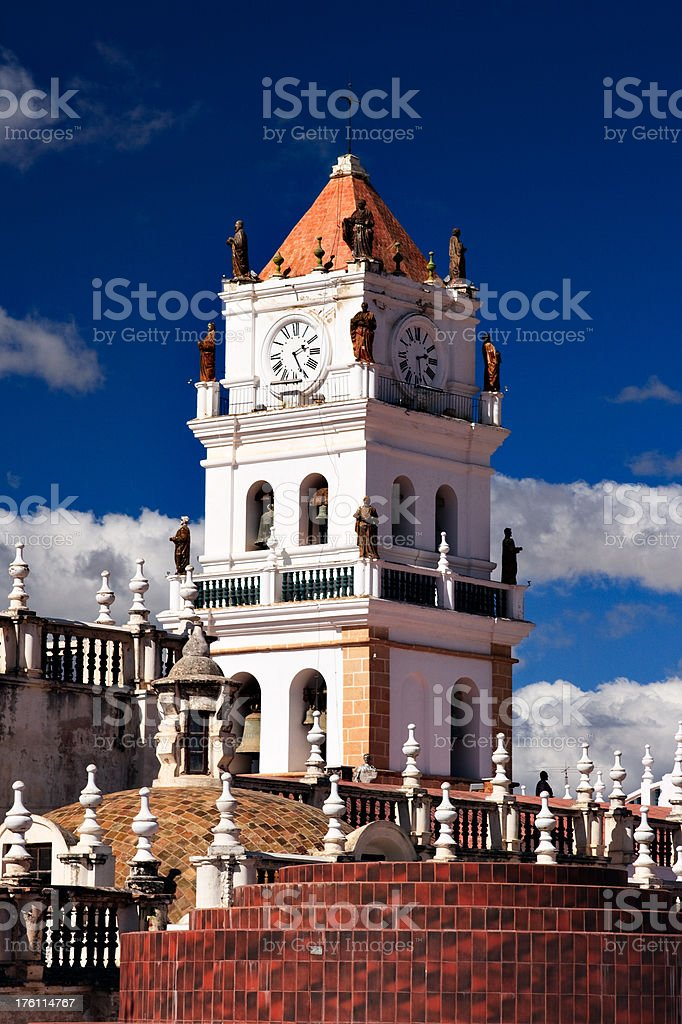 Clock Tower in Sucre, Bolivia royalty-free stock photo