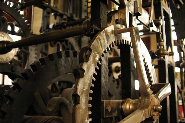 Clock tower inner machinery stock photo