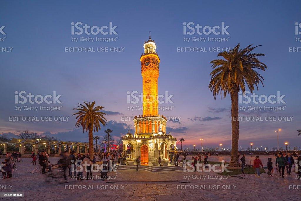 Clock Tower, Konak Square, Izmir, Turkey stock photo