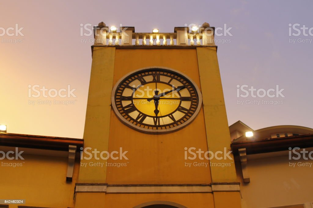 clock tower mall in sunset stock photo
