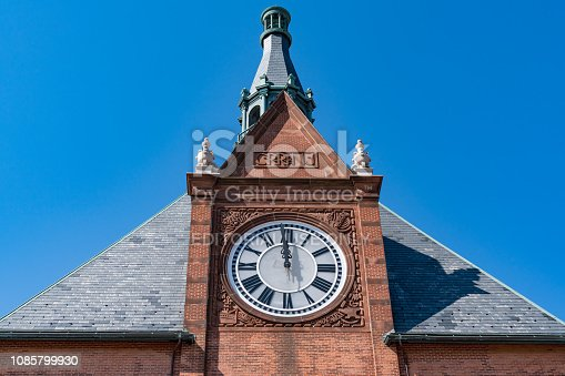JERSEY CITY, NJ - SEPTEMBER 29, 2018: Clock Tower of the Central Railroad of New Jersey Terminal in Liberty State Park