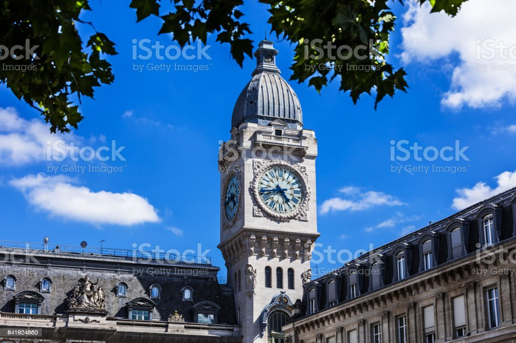 Clock Tower of the Gare de Lyon railway station. Paris, France stock photo