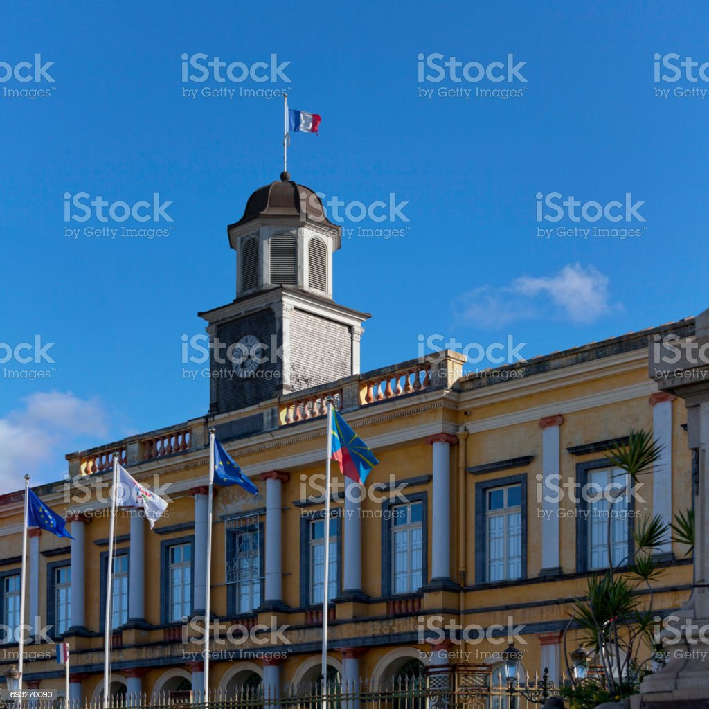 Clock tower of the hôtel de ville de Saint-Denis stock photo