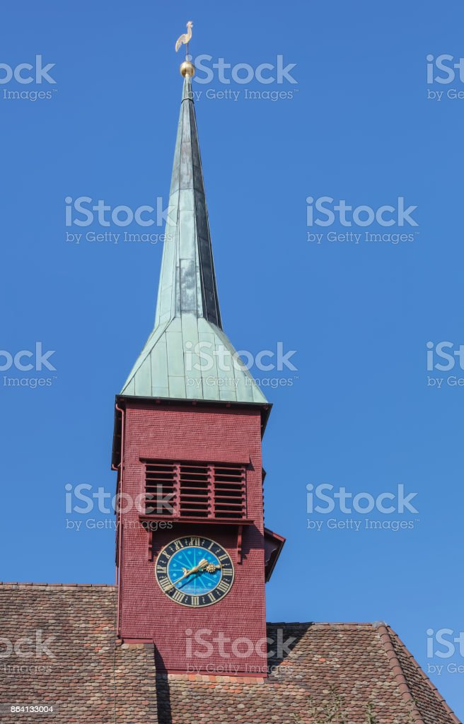 Clock tower of the reformed church in Laufen am Rheinfal royalty-free stock photo