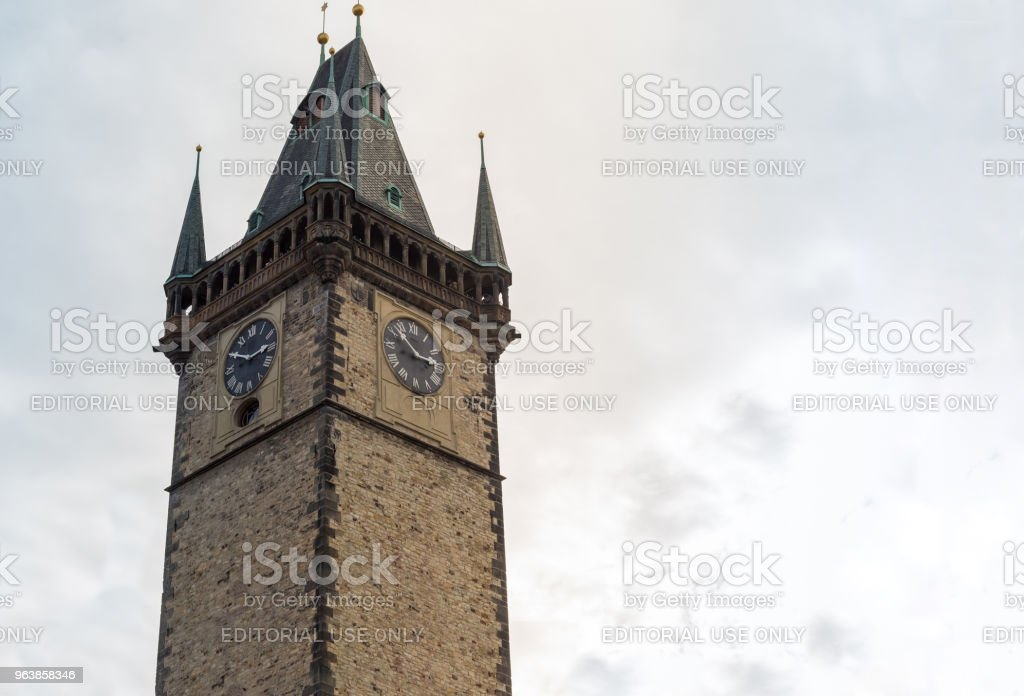 Clock Tower, old historic building. part of the complex - an astronomical clock the old tower on the Old Town Square. Czech Republic Prague February 2017 - Royalty-free Architecture Stock Photo