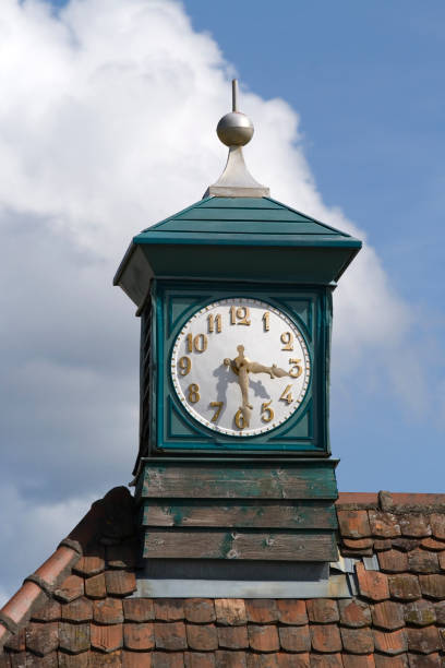 Clock tower on a roof. stock photo
