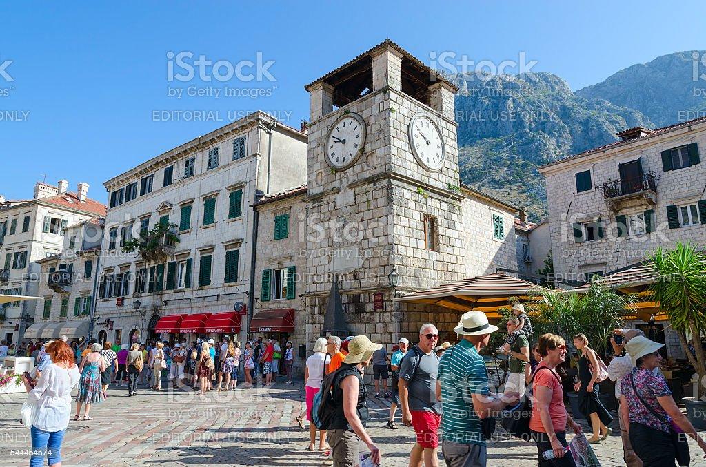 Clock tower on Plaza of Oruzja, Old Town, Kotor, Montenegro stock photo