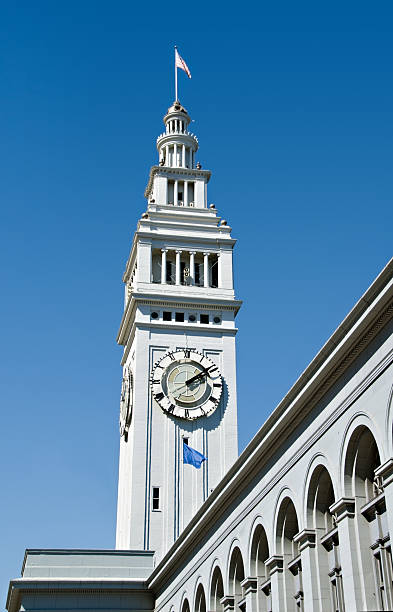 Clock Tower on San Francisco Ferry Building stock photo