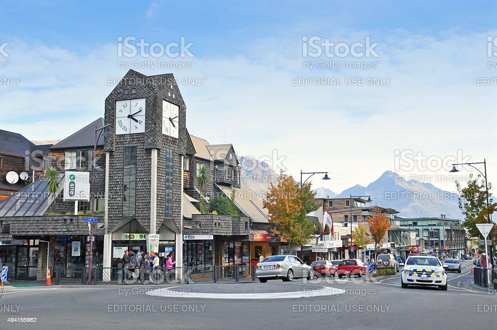 Clock Tower Queenstown, New Zealand stock photo