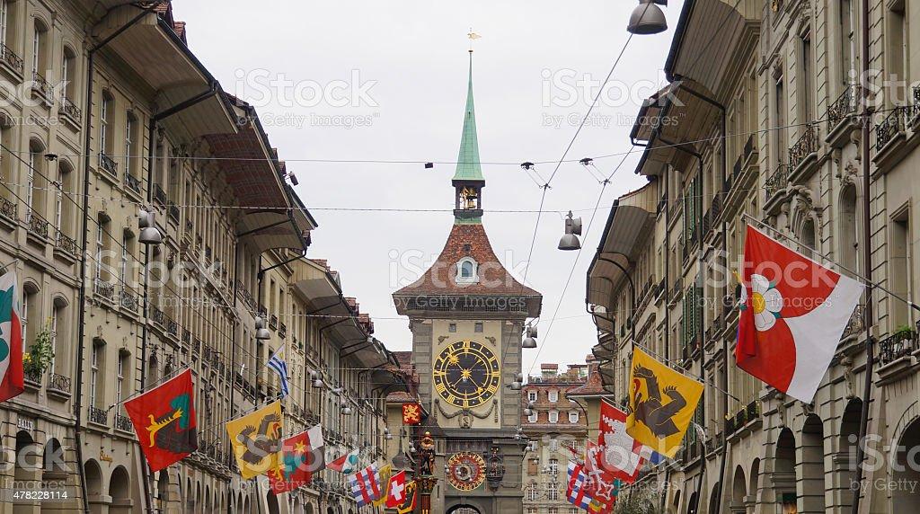 Clock Tower , the city's western gate , Bern, Switzerland stock photo