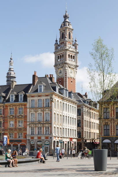 Clock tower, The Old Lille Stock Exchange stock photo