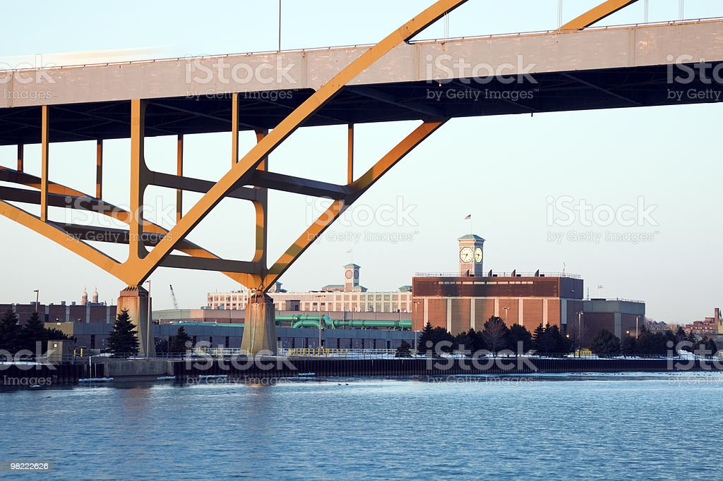 Clock Tower under the bridge royalty-free stock photo