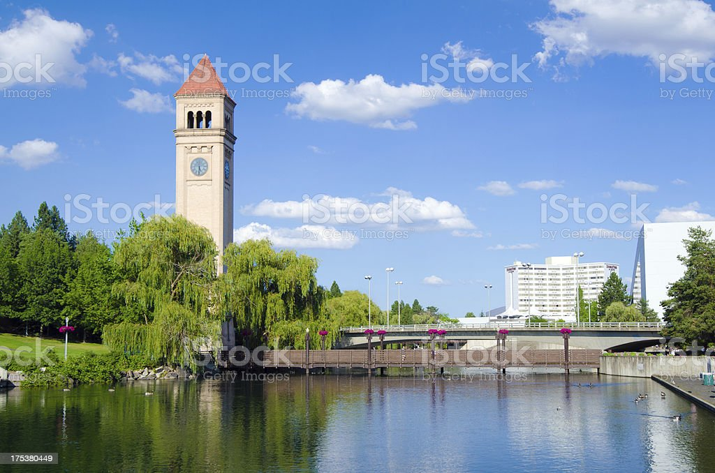 Clock tower with reflection at Riverfront Park in Spokane, WA stock photo