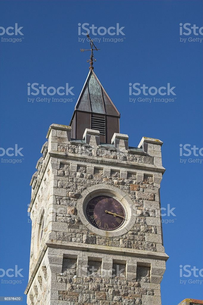 Clock Tower With Weather Vane royalty-free stock photo