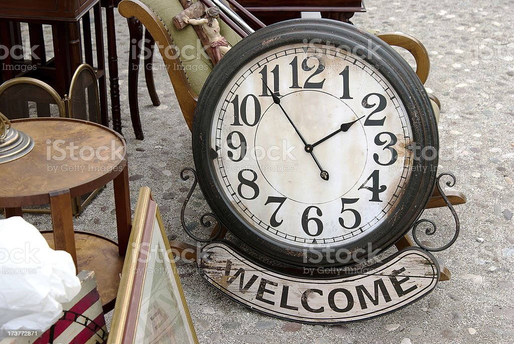 Clock Welcome stock photo