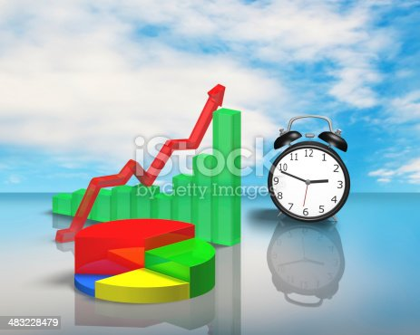 486439381istockphoto Clock with 3D chart on glass table 483228479