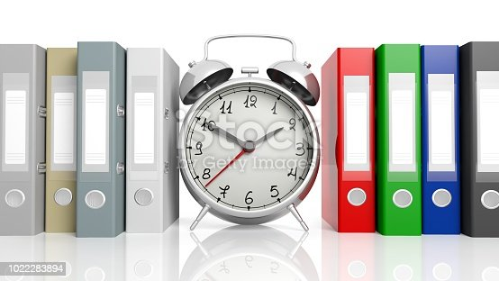 istock Clock with blank labeled folders on on white background. 1022283894