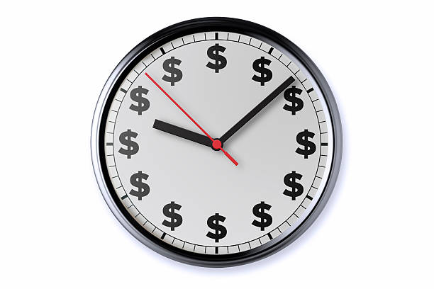 Clock With Clipping Path Dollar signs on a clock with clipping path. time is money stock pictures, royalty-free photos & images