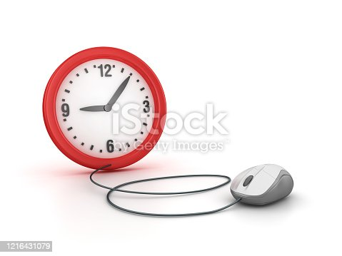 Clock with Computer Mouse - 3D Rendering