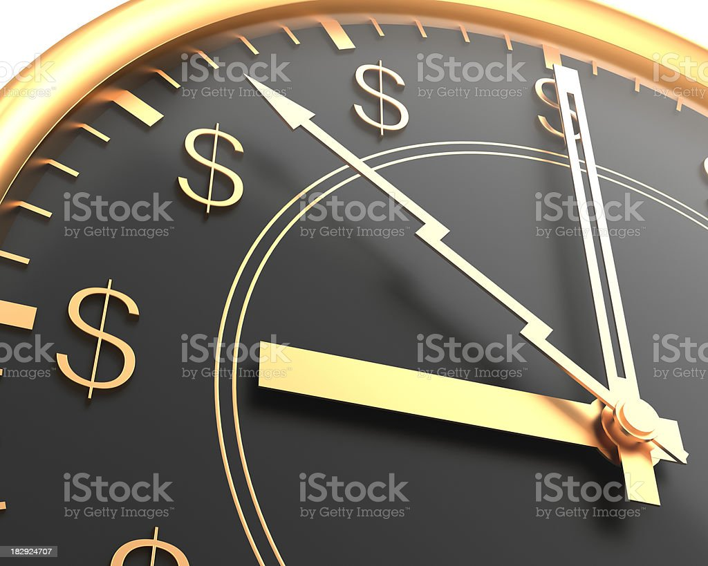 A clock with dollar signs instead of numbers stock photo