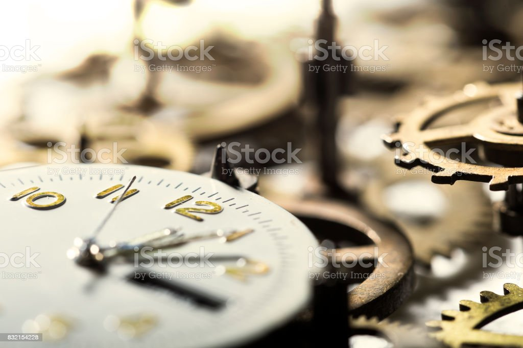 Clock with gears stock photo