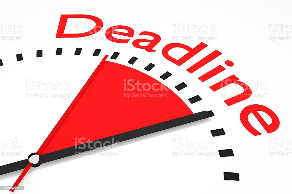 clock with red seconds hand area deadline illustration stock photo
