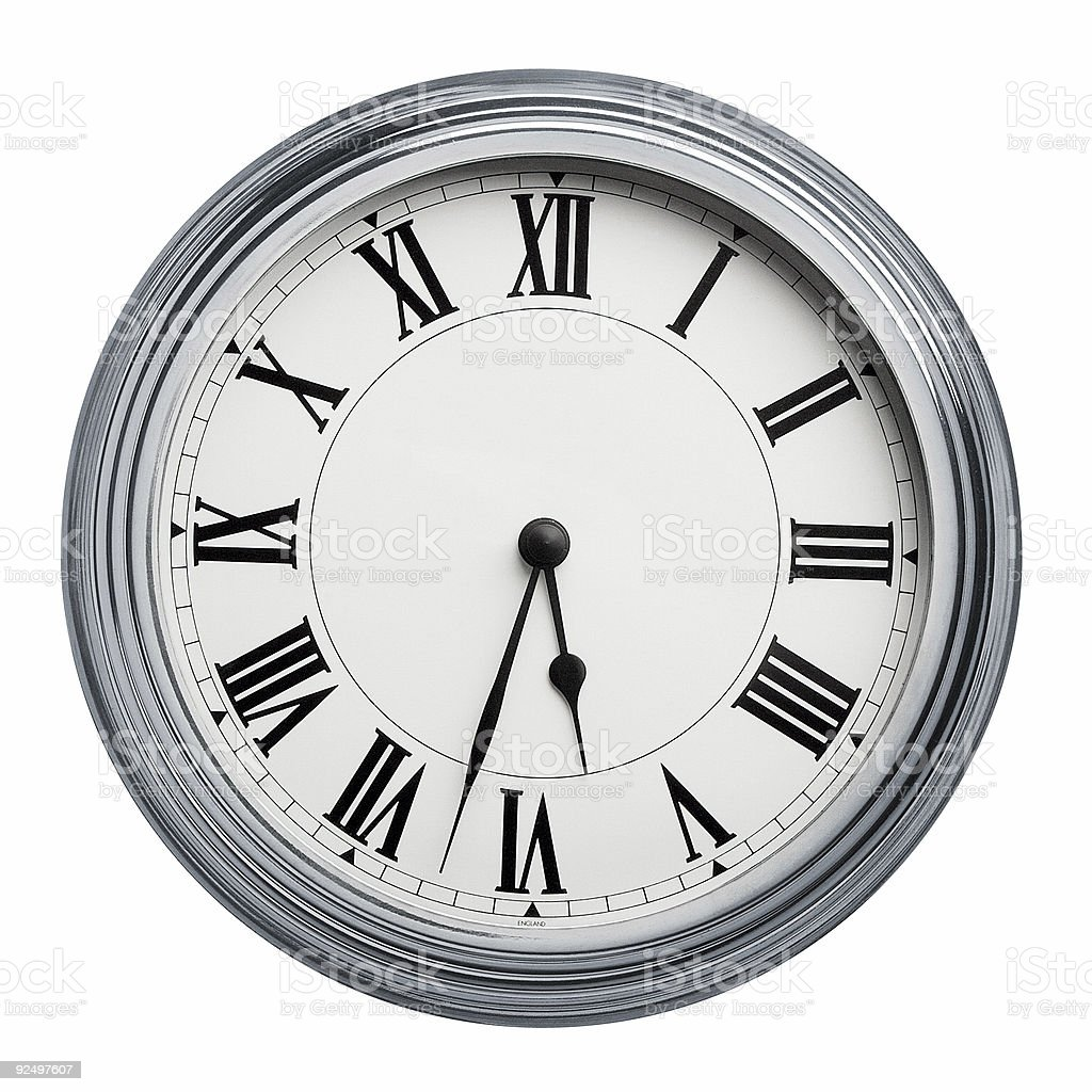 Clock with roman figures and paths 1 royalty-free stock photo