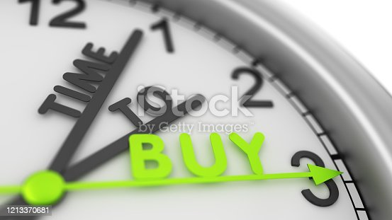 Clock with words Time to BUY. Business time. Buy and sell concept. Investment strategy. Stock market trade 3d illustration.