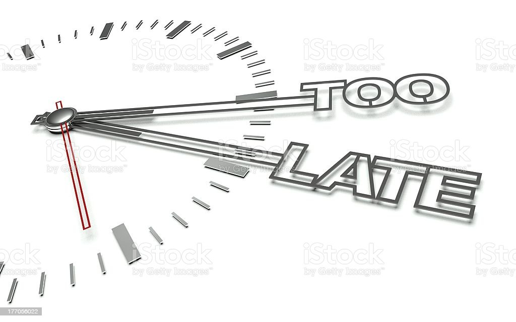 Clock with words Too late, concept of delay royalty-free stock photo