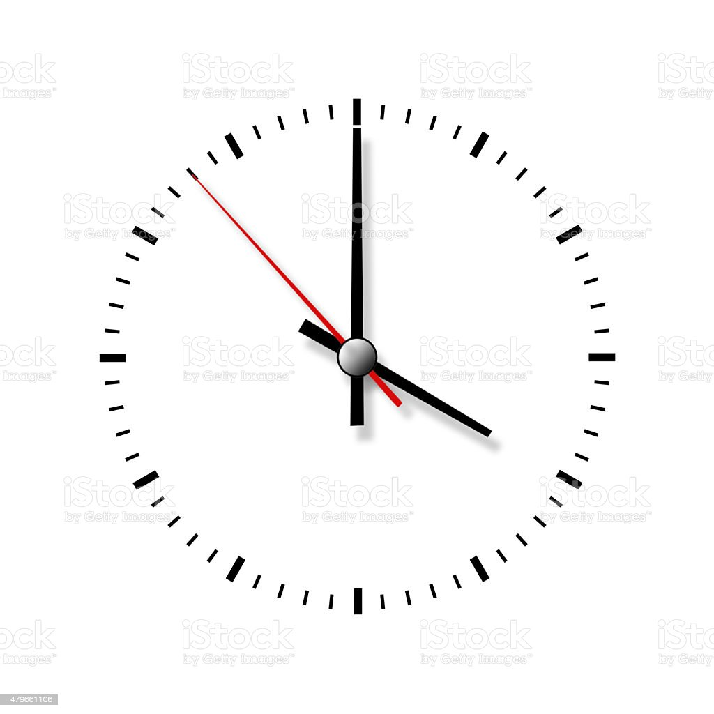 Clock without numbers isolated on white background. stock photo
