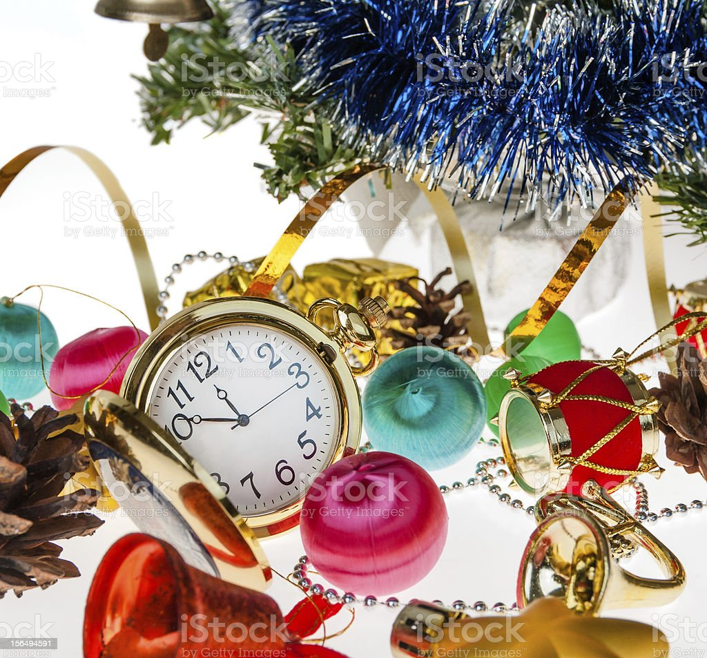 clock,Christmas decorations on the background royalty-free stock photo
