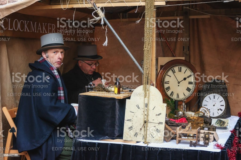Clockmakers at work during the Dickens festival in Deventer stock photo