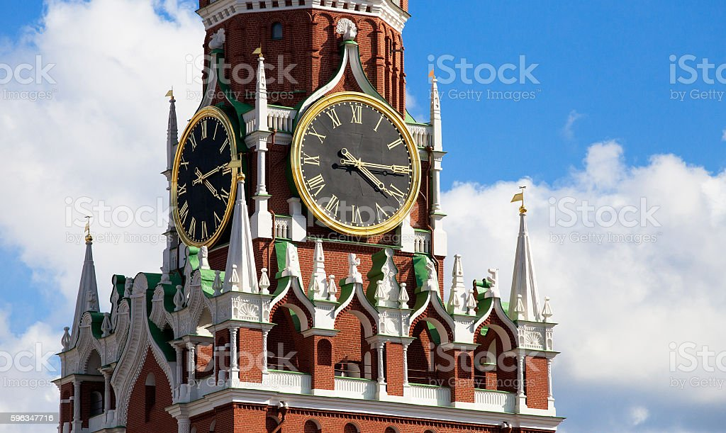Clocks on Spasskaya tower of Moscow Kremlin royalty-free stock photo